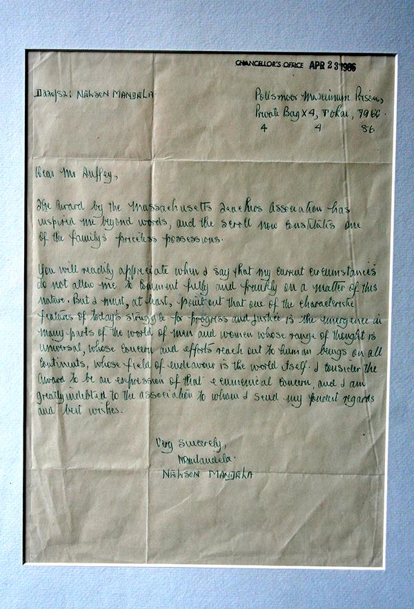 Letter from Nelson Mandela regarding MTA award