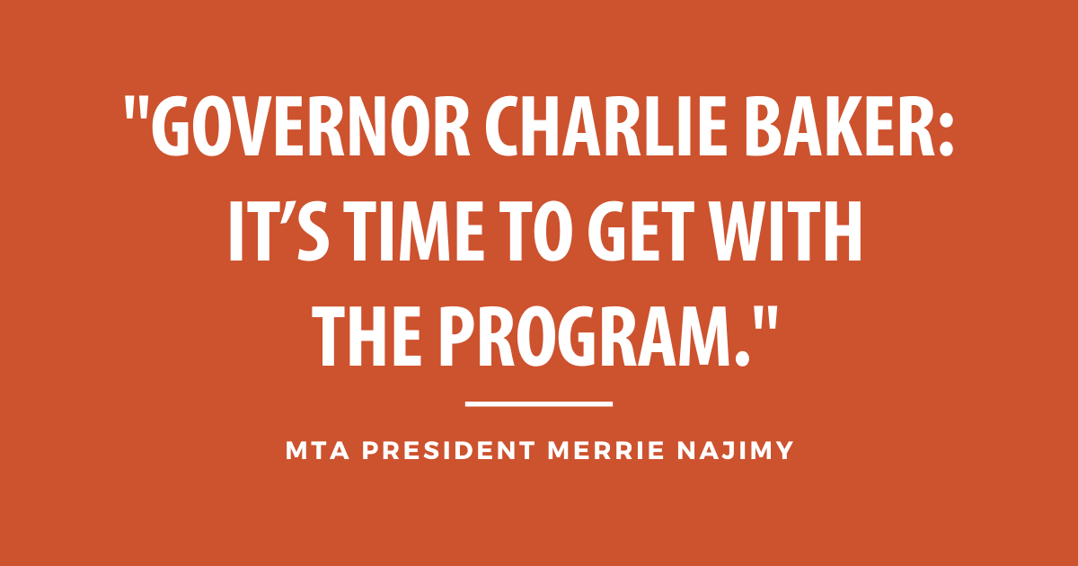 """Governor Charlie Baker: It's time to get with the program."""