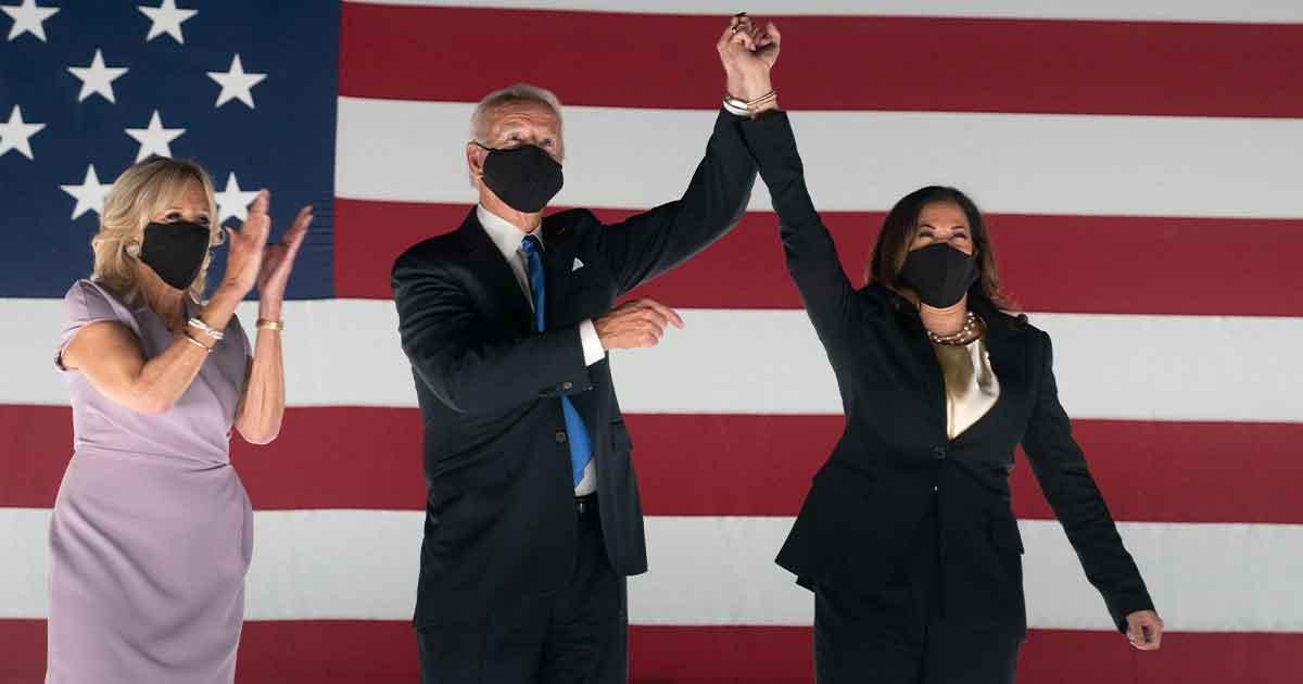 Jill, Joe Biden and Kamala Harris wearing masks