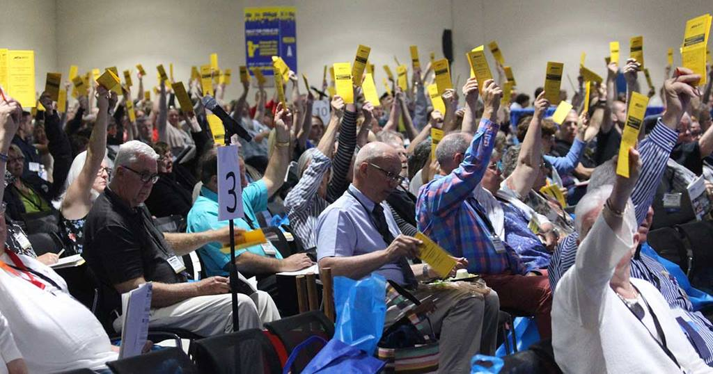 Delegates held their cards up while taking action at the Annual Meeting.