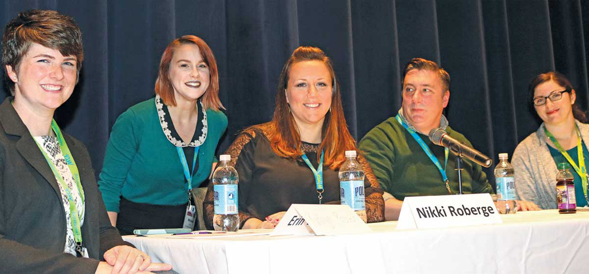 The Just for New Teachers conference featured a panel discussion presented by the New Member Committee. From left to right in the photo at left are committee members Kathryn Procter, Michelle Keane, Nikki Roberge, Gene Reiber and Rose Bell. The conference was held in tandem with a PD day for ESPs.