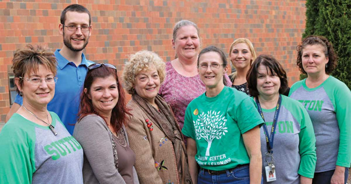 Members of the Sutton Education Support Professionals Association are enthusiastically taking part in the All In campaign. From left to right are President Elaine Valk, Chris Chase, Melissa Wahlstrom, Sallie Robert, Pat Thompson, Cheryl Shaw, Savannah Tracey, Diane Johnson and Kerrie Randell.