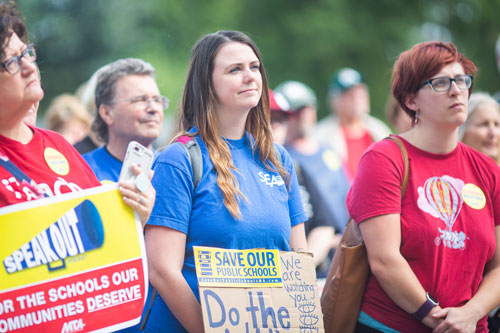 chicopee teachers at rally for school funding